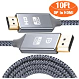 Capshi DisplayPort to HDMI Cable - 10Ft 4K UHD Nylon Braided Gold-Plated DP-to-HDMI Unidirectional Cord DP to HDMI Male Chords Display Port to HDTV Monitor Video Cable DP Ports to HDMI Ports Connector