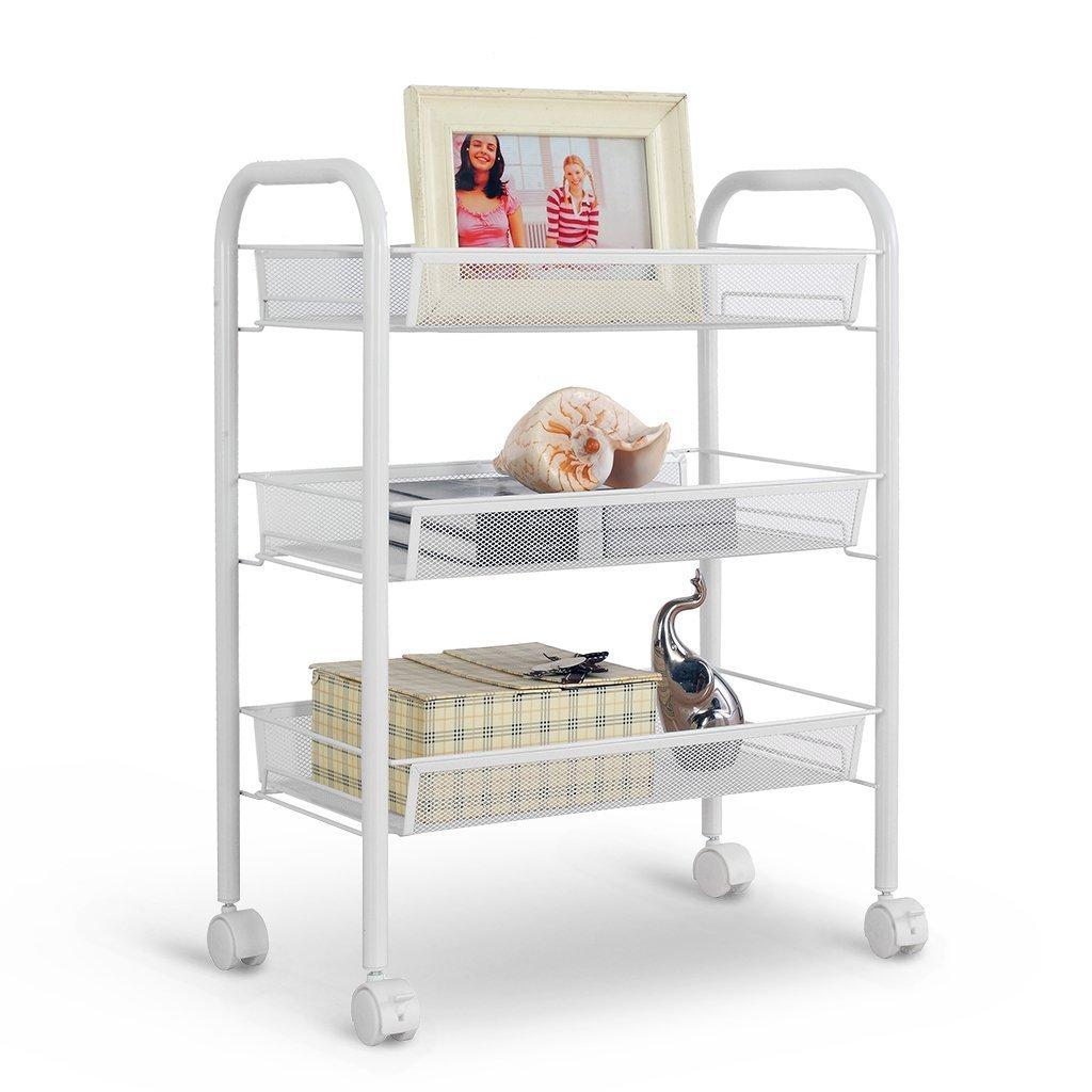 Rackaphile 3-Tier Metal Mesh Rolling Cart Trolly Organizer Shelves Handle Portable Utility, Easy Moving