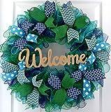 front door color ideas Mother's Day Gift Ideas | Everyday Wreath | Mesh Door Wreath | Navy Blue Kelly Green Turquoise P3