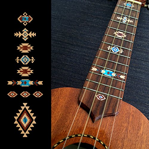 Ukulele Native American Style Ethnic Pattern Inlay Sticker Decal Fret Markers (Natural)