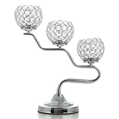 VINCIGANT Silver Crystal Candle Holders Fireplace Candelabra for Living Room/Dinning Coffee Table Decorative Centerpeices