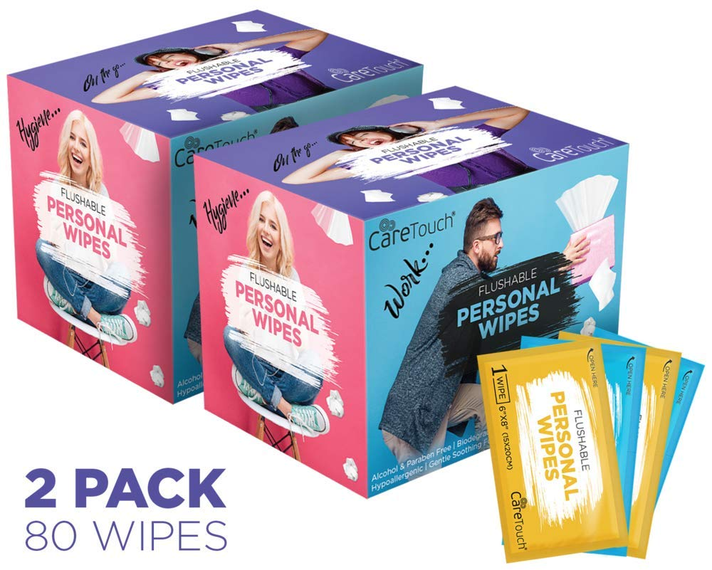 Care Touch Flushable Personal Wipes for Men and Women, Pack of 2, 80 Individually Wrapped Wet Wipes