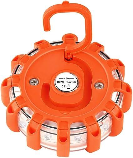 faro de disco con luz de advertencia intermitente con bolsa de almacenamiento 9 modos de destello luz de seguridad de emergencia Llamaradas LED en el camino