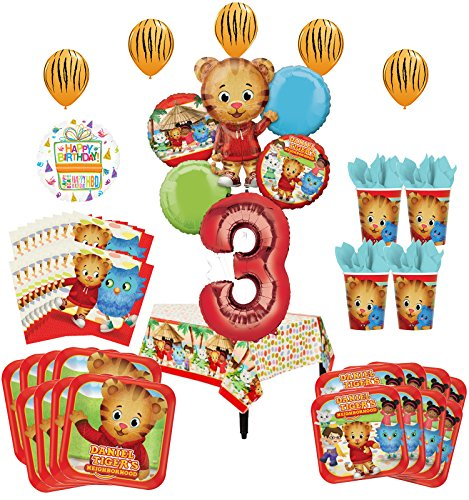 Mayflower Products Daniel Tiger Neighborhood 3rd Birthday Party Supplies and 8 Guest 53pc Balloon Decoration Kit