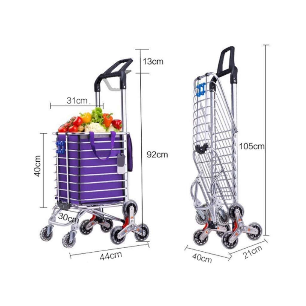 Carro de Compras Plegable de Aluminio Tienda de comestibles para Subir escaleras Carga Fuerte Rueda Triangular Enrollable de Gran Capacidad de 35L Trolley de Dos manijas giratorias 360 /°