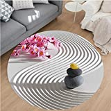 Nalahome Modern Flannel Microfiber Non-Slip Machine Washable Round Area Rug-e Zen Stones of Meditation Sand with Orchids Relax Yoga Spirit Picture Pearl Pink Dimgrey area rugs Home Decor-Round 59''
