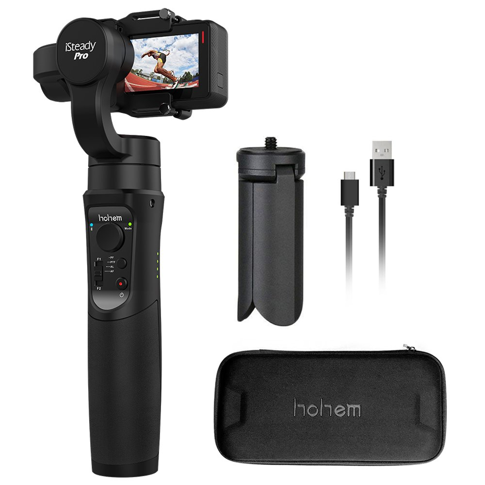 Action Camera Gimbal Stabilizer, Hohem 3 Axis Gimbal Stabilizer, Full 640 Degrees Handheld Gimbal for Gopro Hero 2018/6/5/4/3, Yi Cam 4K, AEE Sports Cams,Auto Panoramas, Time-Lapse & Tracking (iStead