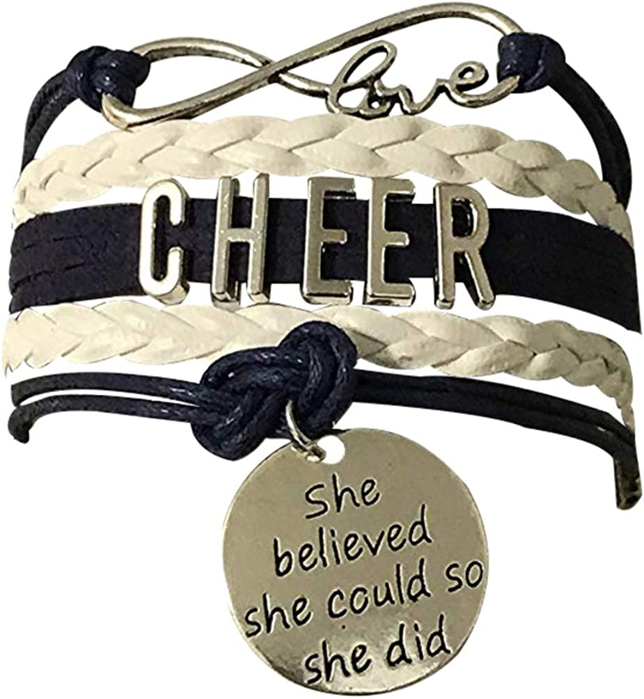 Cheer Teams /& Cheerleading Coaches Sportybella Cheerleading Bracelet Gift for Cheerleaders Cheer Bracelet Adjustable Cheer She Believed She Could Charm Bracelet Cheer Jewelry Cheer Gifts