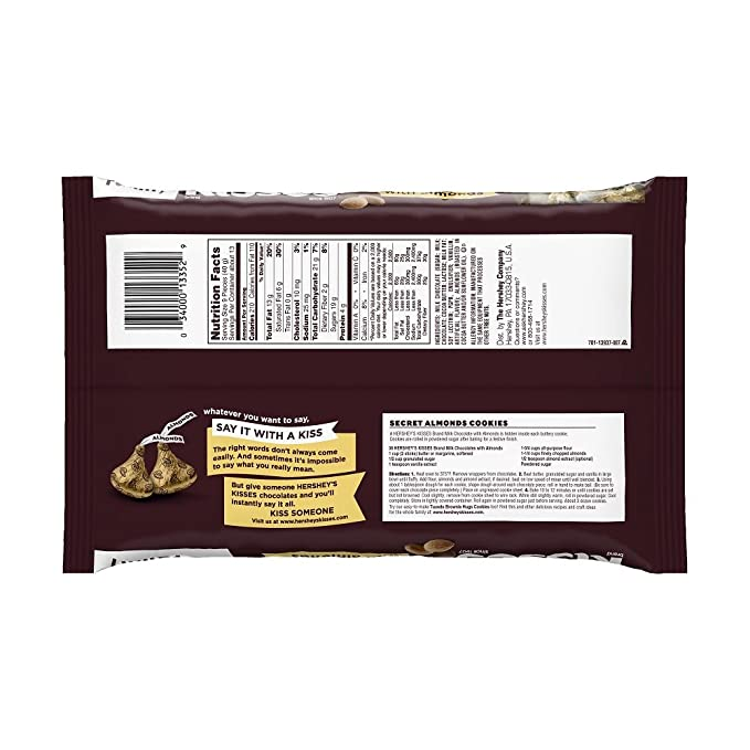 HERSHEYS Kisses Chocolate Candy with Almonds, 18 Ounce (Pack of 3)