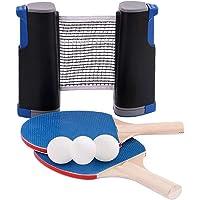 Red De Tenis De Mesa Portátil,Conjunto de Tenis de Mesa, Juego de Ping Pong con 2 Raquetas + 3 Bolas Pelotas Tenis de…