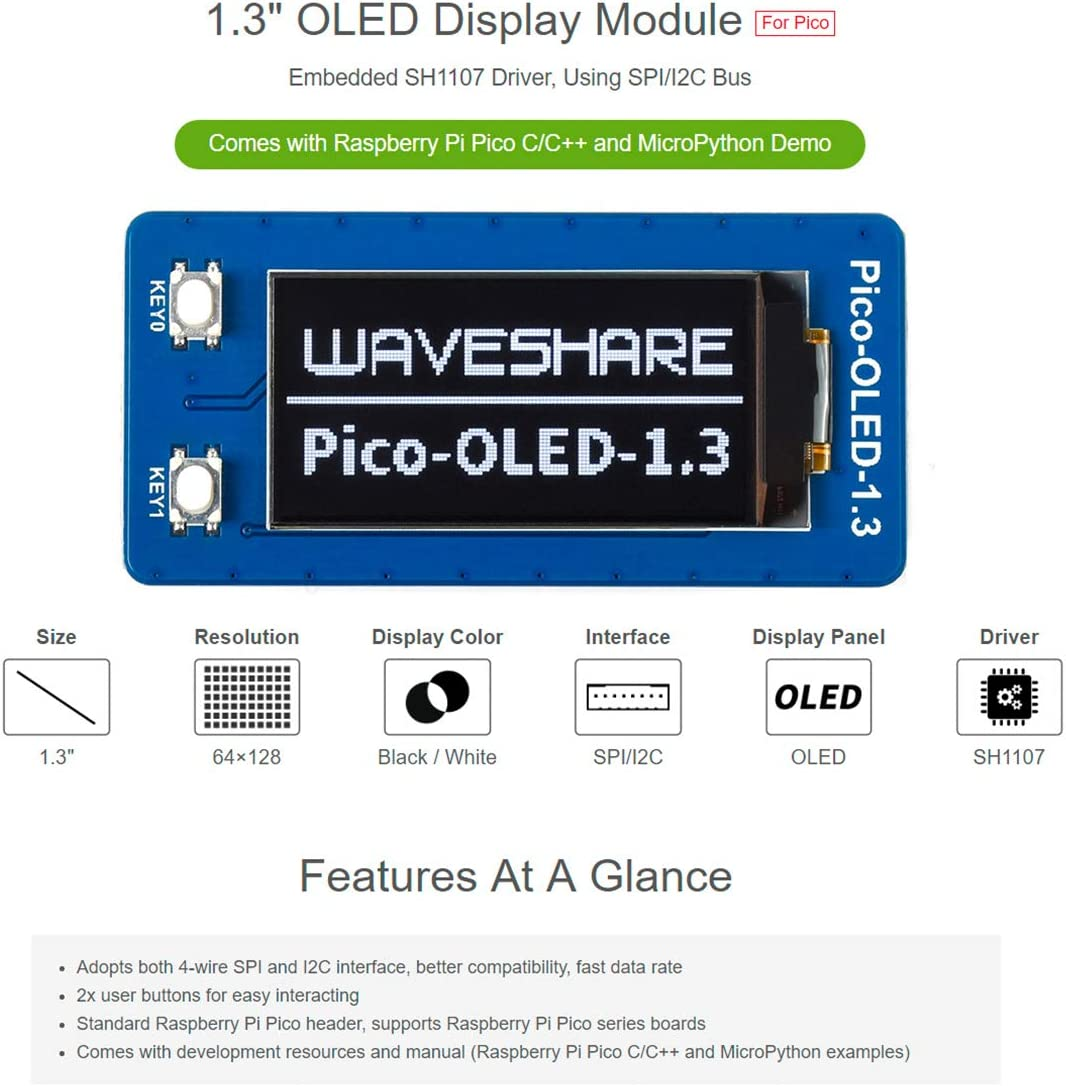 64128 Pixels Waveshare 1.3inch OLED Display Module for Raspberry ...