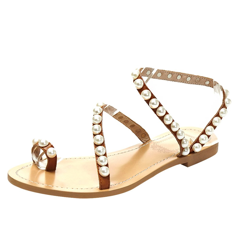 Jamron Women Top Quality Genuine Leather Luxury Pearls Studded Flat Toe Ring Sandals Big Size Brown SN02408 US8