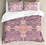 Arabian Duvet Cover Set by Ambesonne, Arabesque Round Patterns in Oriental Islamic Eastern Persian Religious Motif Artwork, 3 Piece Bedding Set with Pillow Shams, King Size, Pink Teal