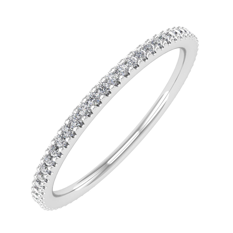 IGI Certified 10K White Gold Prongs Set Diamond Eternity Band Ring (0.17 Carat)