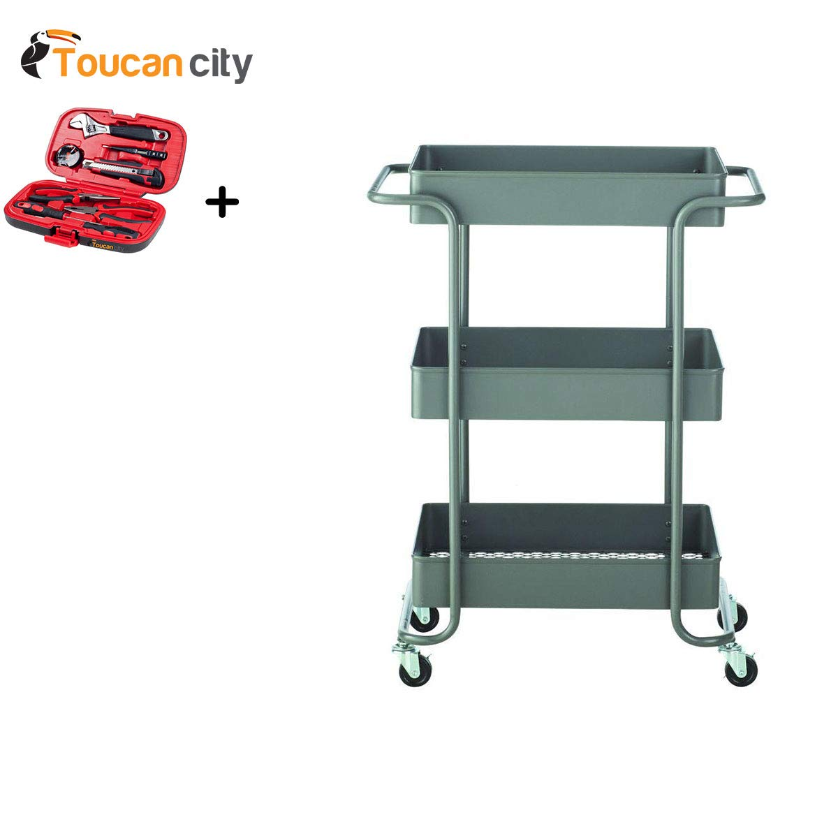 Toucan City Tool Kit (9-Piece) and Home Decorators Collection Steel Open Cart in Grey 9201810270
