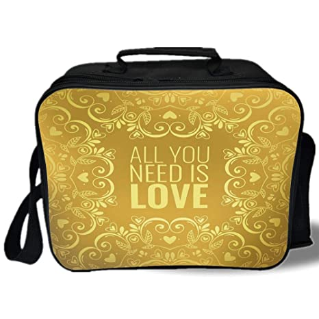 Amazon Com Insulated Lunch Bag Gold Mandala Romantic Floral Round