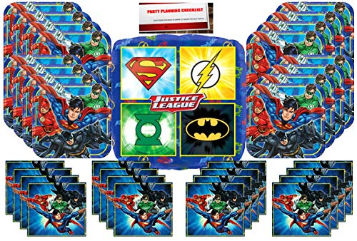 Justice-League DC Comics Superheros Birthday Party Supplies Bundle Pack for 16 Plus a 17 inch Balloon -