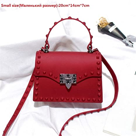 12f69bb741 Amazon.com  LIUGHGB Designer Women Messenger Bags Luxury H Bags Women Bag  Jelly Bags PVC Rivet Shoulder Bag Lady Purse 116 Small red  Sports    Outdoors