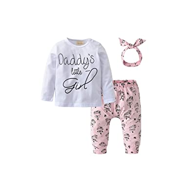 f4bf088f Amazon.com: Newborn Baby Girl Mother's Day Pants Set | Daddy's Little Girl  T-Shirt Mini Boss Romper+Cartoon Pants+Headband: Clothing