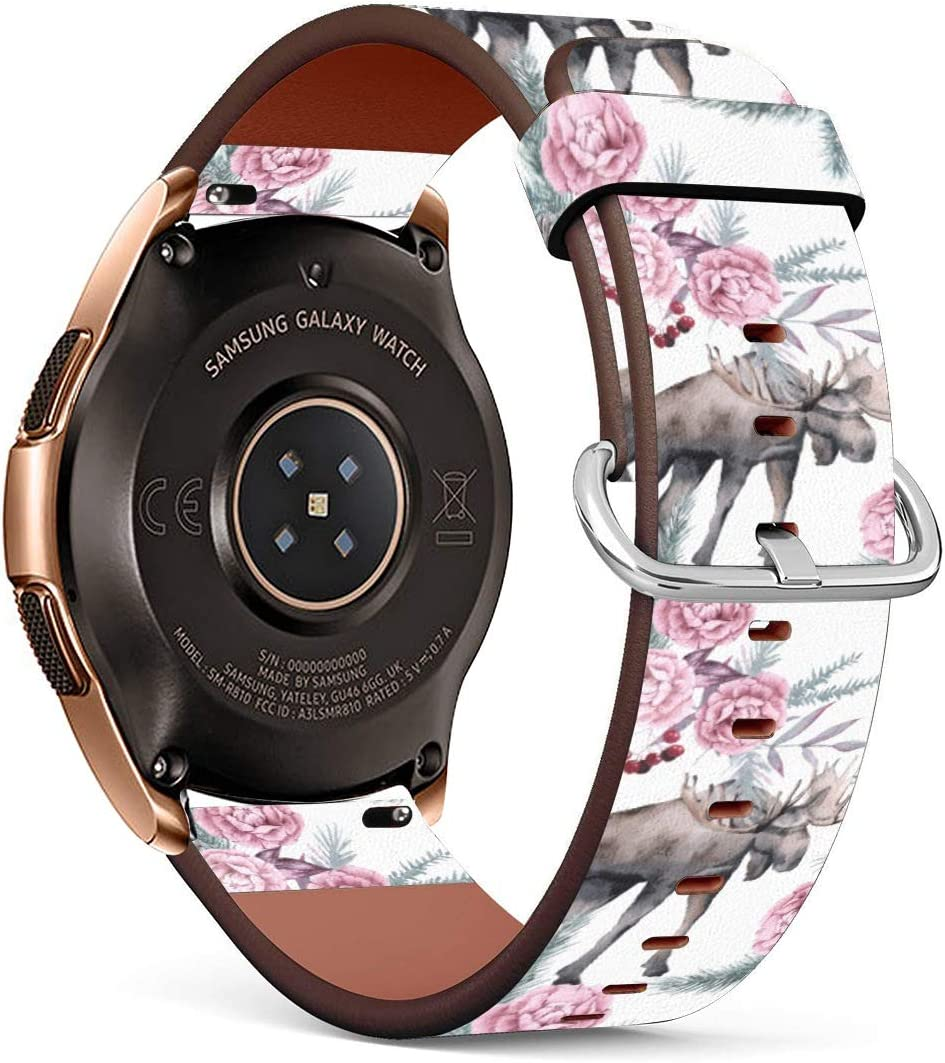 Amazon Com Compatible With Samsung Galaxy Watch3 41mm Galaxy Watch 42mm Moose On Floral Background Pu Leather Band Replacement Standard 20mm Straps Sports Outdoors