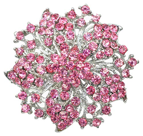 Gyn&Joy Pink Rose Rhinestone Crystal Floral Wreath Bouquet Wedding Festive Flower Brooch Pin BZ199