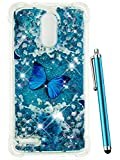 lg 3 bumper - CAIYUNL for LG Stylo 3 Case Glitter, LG Stylo 3 Plus Case, LG Stylus 3 Case Liquid Cute Design with Moving Shiny Quicksand Bling Girls Women Men Clear TPU Protective Case for LG LS777 -Blue Butterfly