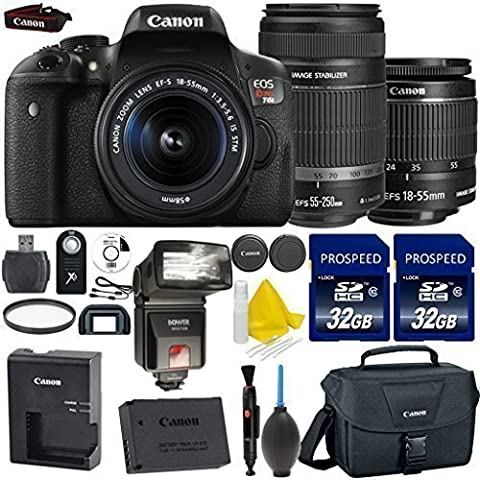 Canon EOS Rebel T6i 24.2MP WiFi Enabled Digital SLR Camera + Canon EF-S 18-55mm IS STM + Canon EF-S 55-250mm IS STM + 2pc High Speed 32GB Memory Cards + UV Filter + Dedicated TTL - Canon Digital Rebel Kit