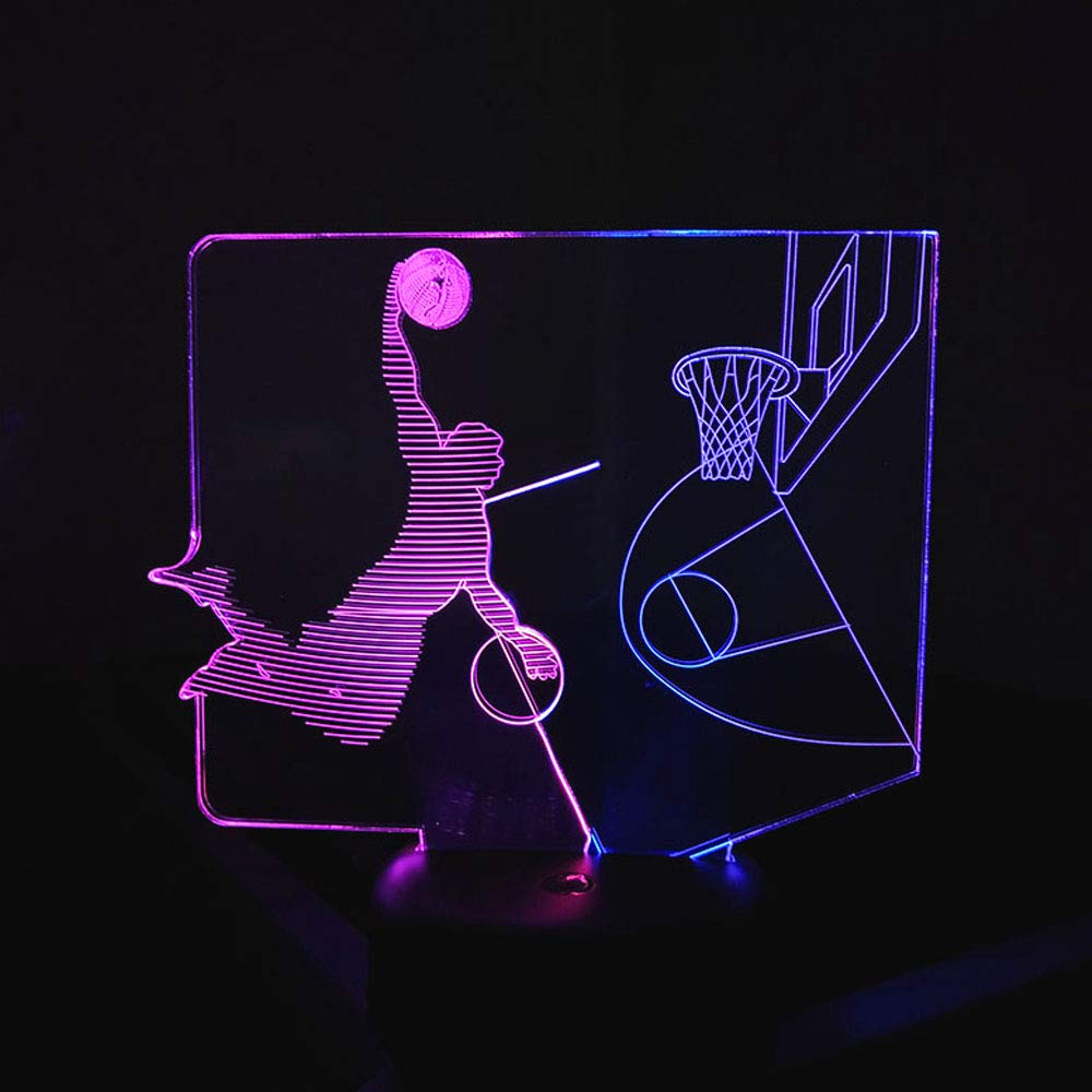 SZLTZK Christmas Gift Dual Color 3D LED Boy Slam Dunk Night Light 7 Color Touch Switch with Battery Compartment USB Cable Table Desk Baby Nursery Lamp Home Decor Birthday Present for Kids Boy Girl by SZLTZK (Image #7)