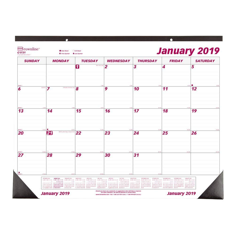 Brownline 2019 Monthly Desk Pad Calendar, 22 x 17 inches (C1731-19)
