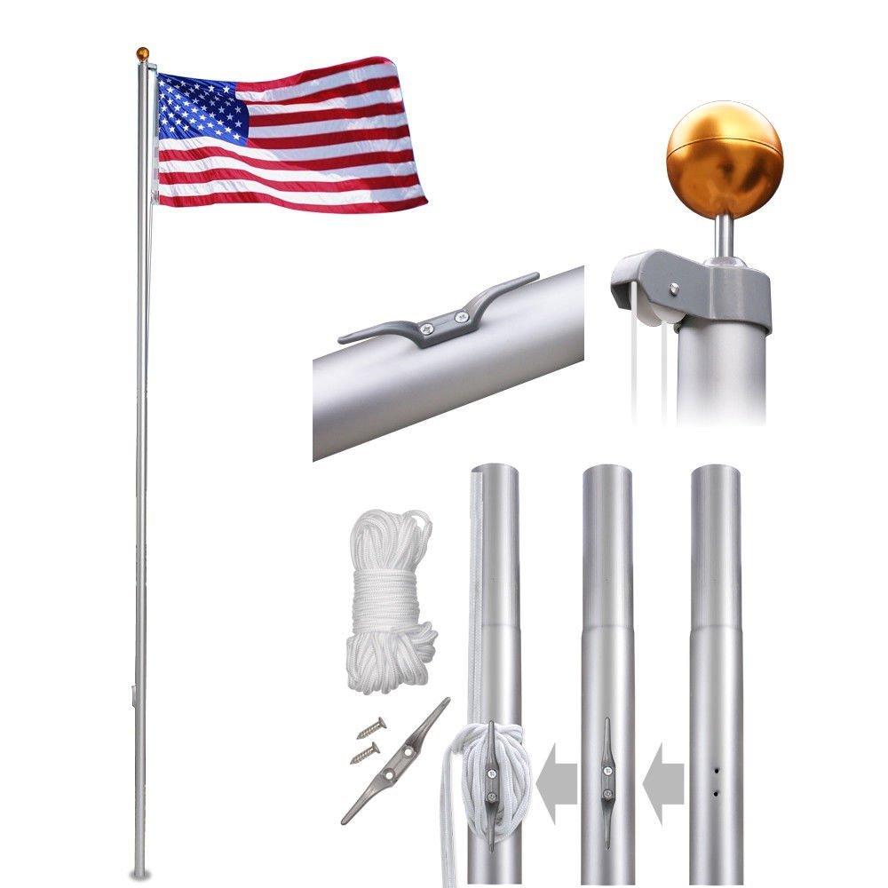 Cirocco 20 Ft Heavy Duty Aluminum Sectional Flag Pole Kit w/3x5 Flag, Spinning Bracket & Gold Sphere Finial | Light Super Strong Holder Tangle Free for Garden House Telescoping Residential Commercial