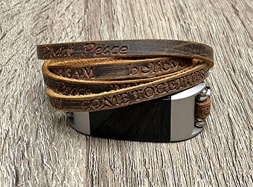 Luxury Leather Bracelet For Fitbit Charge 2 Fitness Tracker Handcrafted Brown Multi Wrap Adjustable Size Fitbit Charge 2 Band Metal Buckle Clasp Embossed Inspirational Words Wristband ()