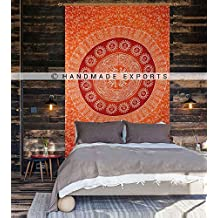 Orange elephant Ombre Tapestry Indian Mandala Wall Art Hippie Wall Hanging Bohemian Bedspread multi purpose tapestries Twin