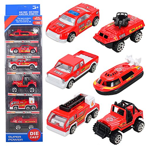 T.H. Mini Fire Engine Truck Emergency Rescue Vehicles Alloy Models Cars Toy for Children, 6 pcs