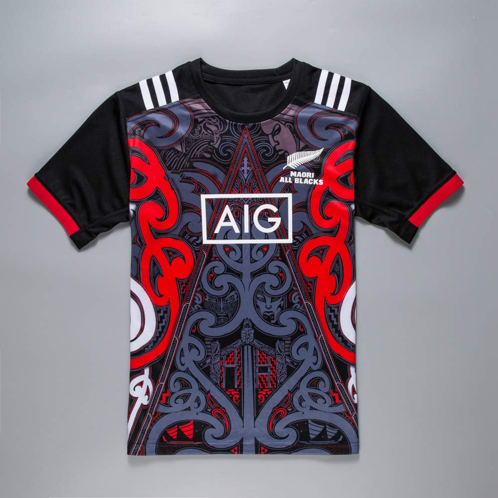 Swag Sportswear CRBsports Squadra Nuova Zelanda Maori Tutti Neri Rugby Training Jersey Nuovo Tessuto Ricamato