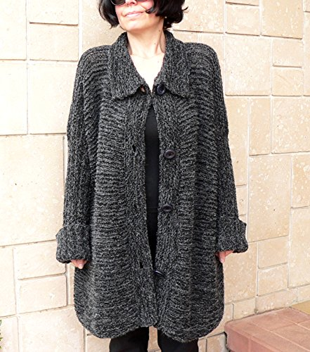 Women alpaca black cardigan by PassionMK