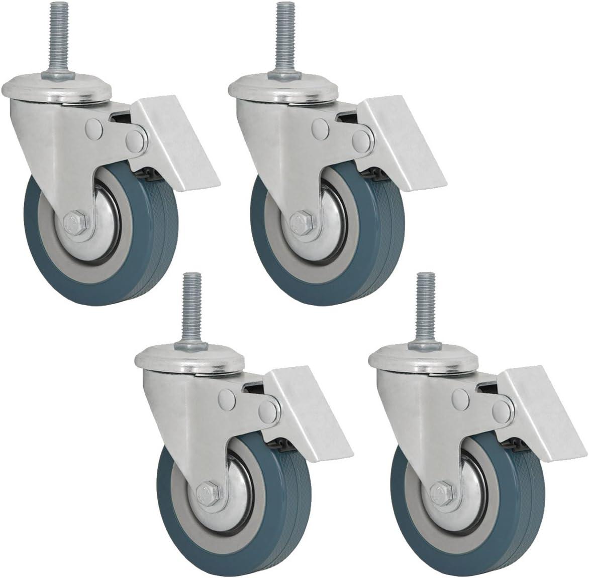 4 Ruedas 75mm pivotantes para muebles con Freno de eyepower | Montaje con tornillo de sujeción rosca M10 | Ruedecilla de nailon giratoria 360° y con bloqueo | color Plateado