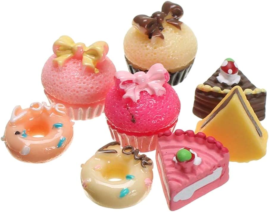 Gracefulvara 8PCS Bakery Shop Kitchen Food Cake Donuts Cupcake for 1/12 Miniature Dollhouse