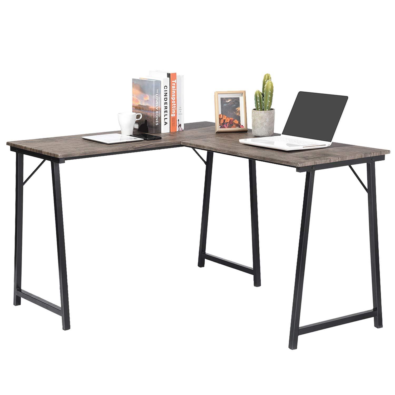 GreenForest Corner Desk L Shaped Computer Desk PC Latop Table Workstation for Home Office, Walnut by GreenForest (Image #3)
