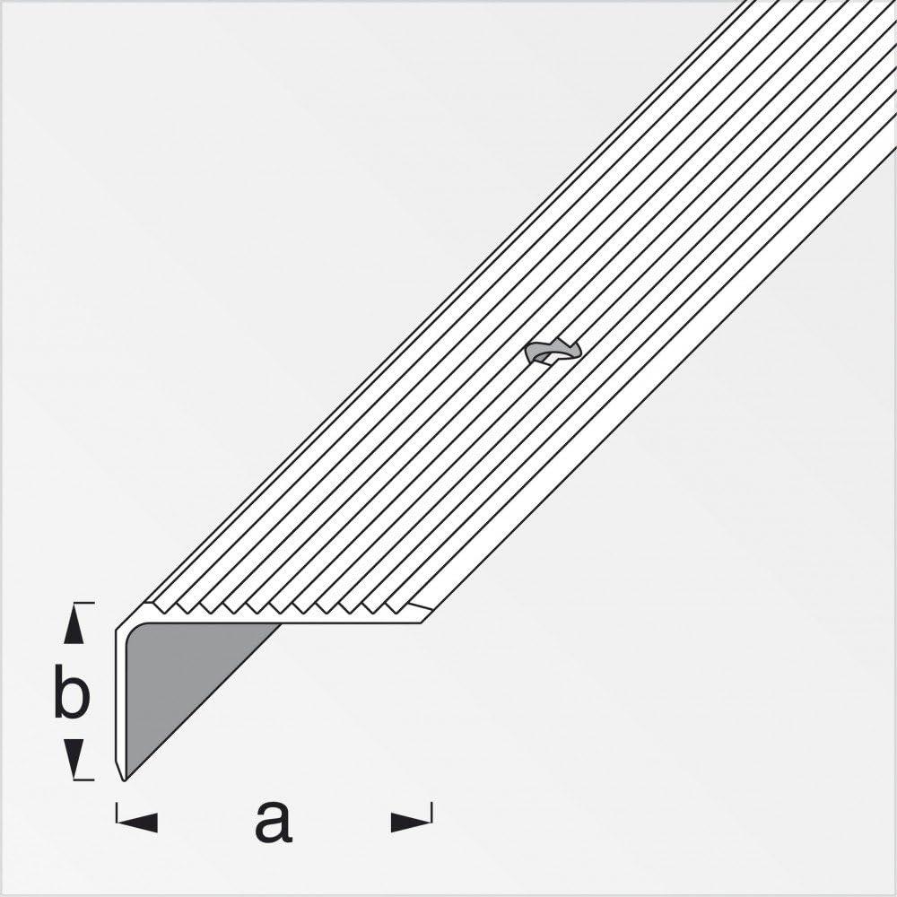 Treppenschienen breit gerillt gelocht 41//23mm 200cm messing eloxiert