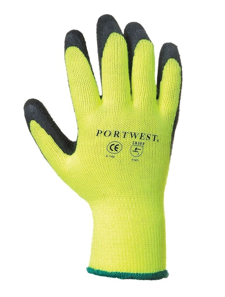 Portwest UA140Y8RM Regular Fit Thermal Grip Glove, Medium, Yellow