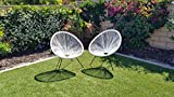 Acapulco Chair Indoor Outdoor Lounge Chair Weave Patio Chair All Weather Outdoor Patio Sun Oval Chair,White,2 Piece Set Review