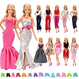 Barwa Lot 15 Items = 5 Sets Fashion Casual Wear Clothes/Outfit Handmade Party Dress with 10 Pair Shoes for Barbie Doll Birthday Xmas GIF