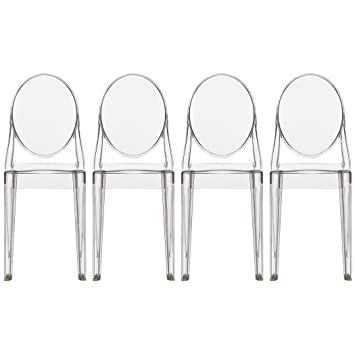 2xhome   Set Of Four (4)   Clear   Victoria Style Ghost Side Chairs