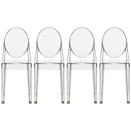 Amazon.com   2xhome   Set Of Four (4)   Clear   Victoria Style Ghost Side  Chairs Dining Room Chairs   Chairs