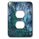 3dRose Uta Naumann Faux Glitter Pattern - Luxury Malachite Ombre Gem Stone Marble Glitter Metallic Faux Print - Light Switch Covers - 2 plug outlet cover (lsp_269018_6)