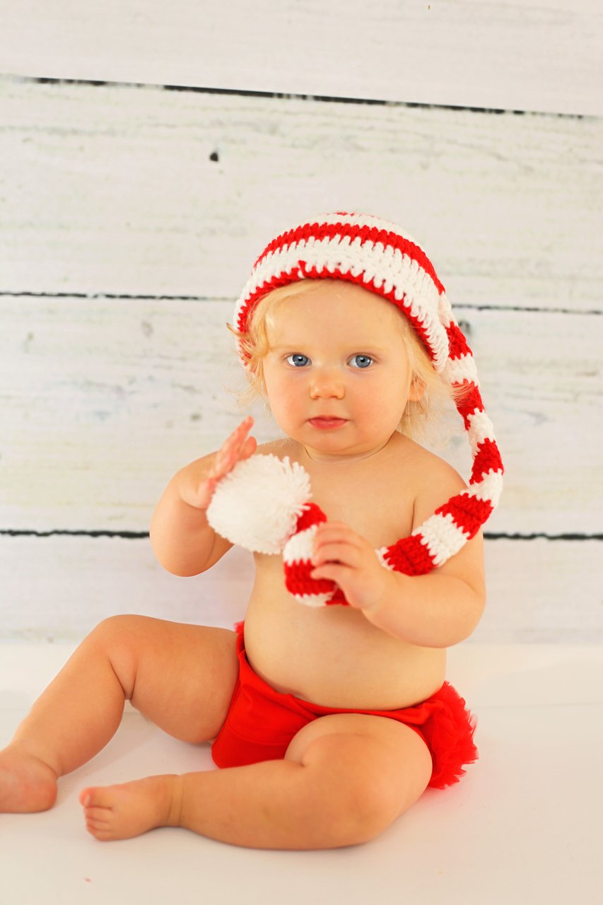 Hairbows Unlimited Red White Baby Christmas Stocking Cap Hat