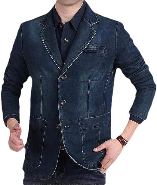 YYG Men Multi-Pockets 3 Buttons Lapel Relaxed Fit Casual Business Denim Blazer Jacket Suits Coat