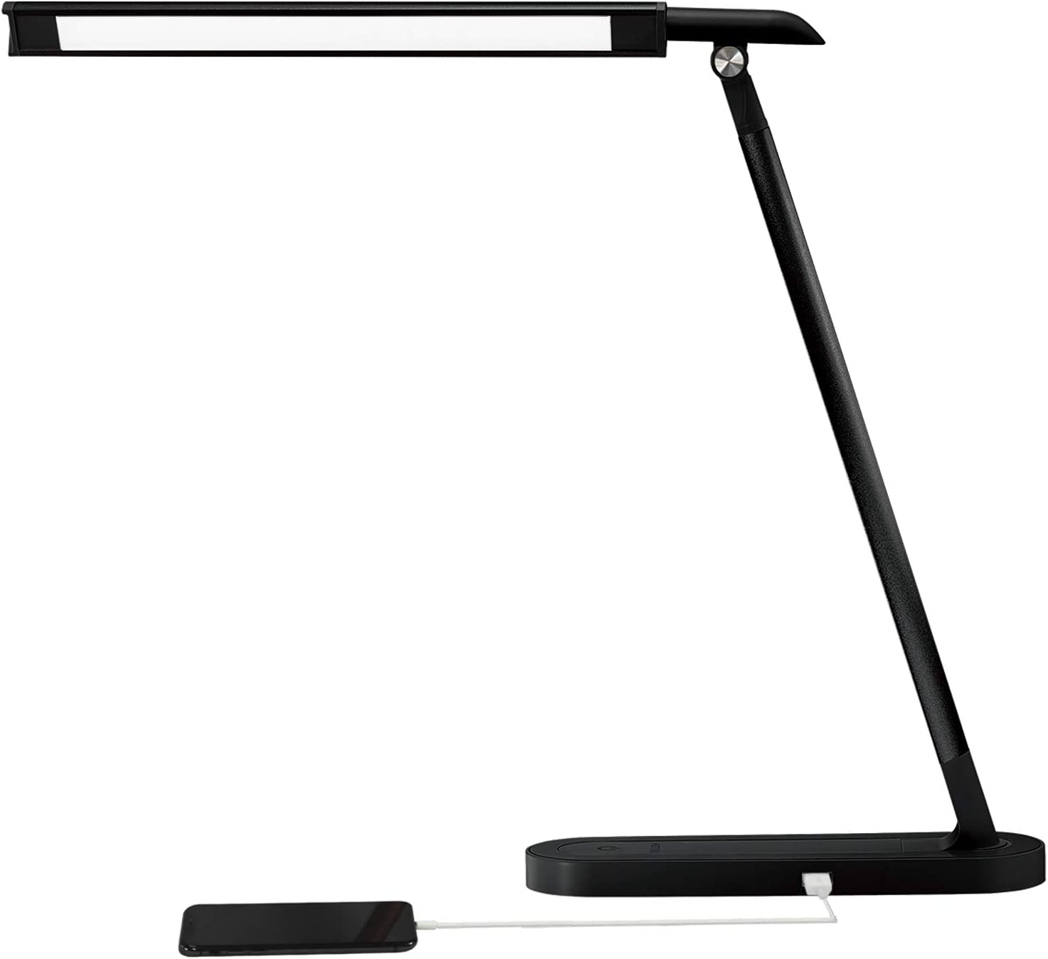 GLFERA LED Desk Lamp with USB Charging Port, Dimmable Eye-Caring Office Lamp with Adapter, 3 Lighting Modes with 3 Brightness Levels, Touch-Sensitive Control(Black, 10W)