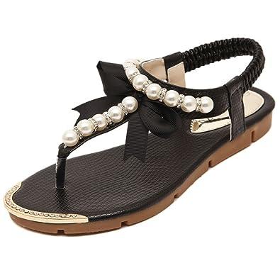 Sommer-Sandalen, Flip-Flops für Damen, mit Keilabsatz, T-Riemen und Zehentrenner, von Donalworld, Beige - beige - Größe: 36