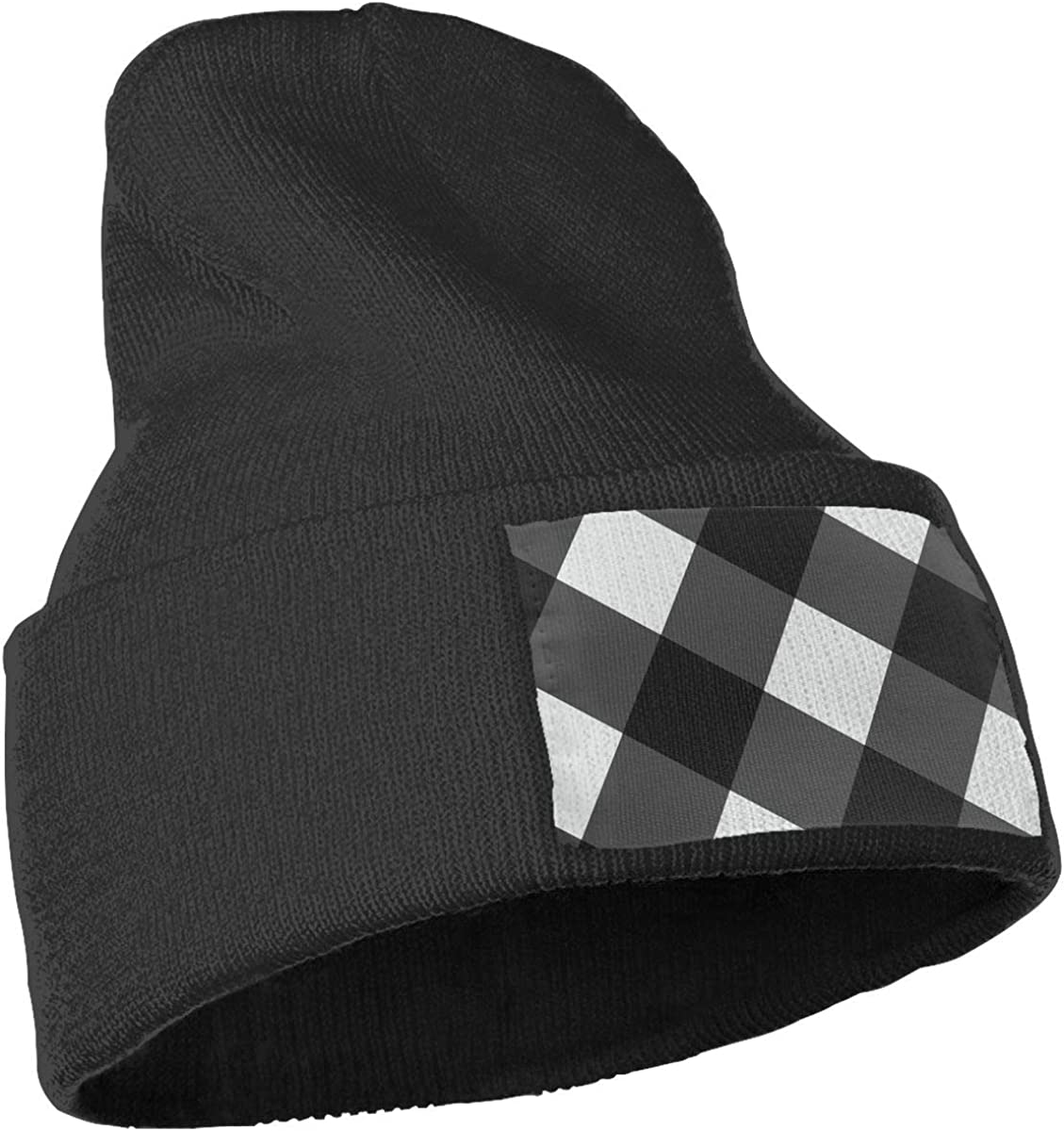 JZMY6 Black Striped White Checker Solid Color Beanie Hat Knit Cap